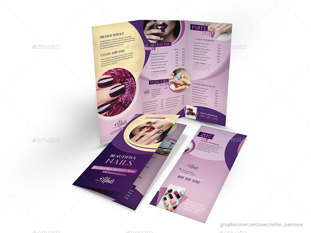 nail salon tri fold brochure