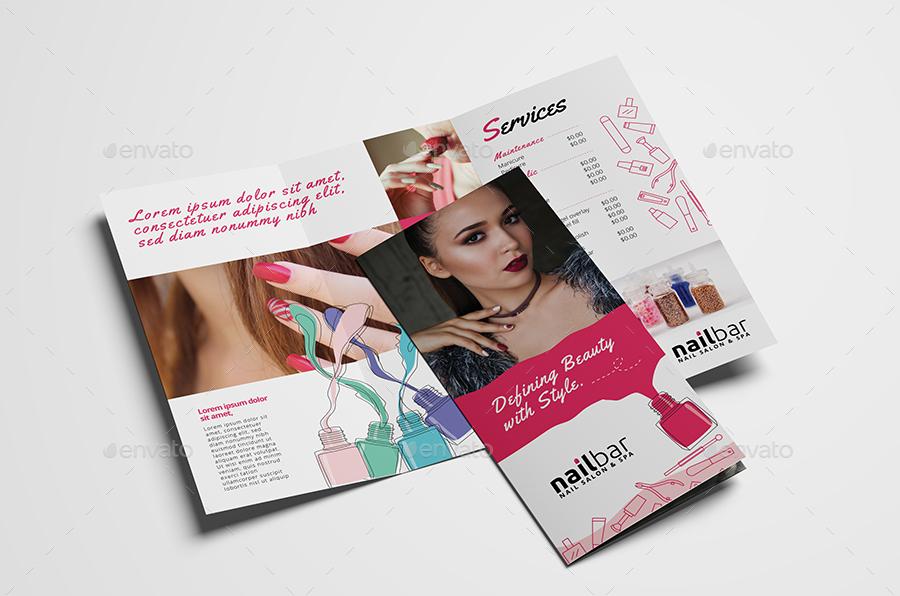 nailbar hair salon and spa tri fold brochure