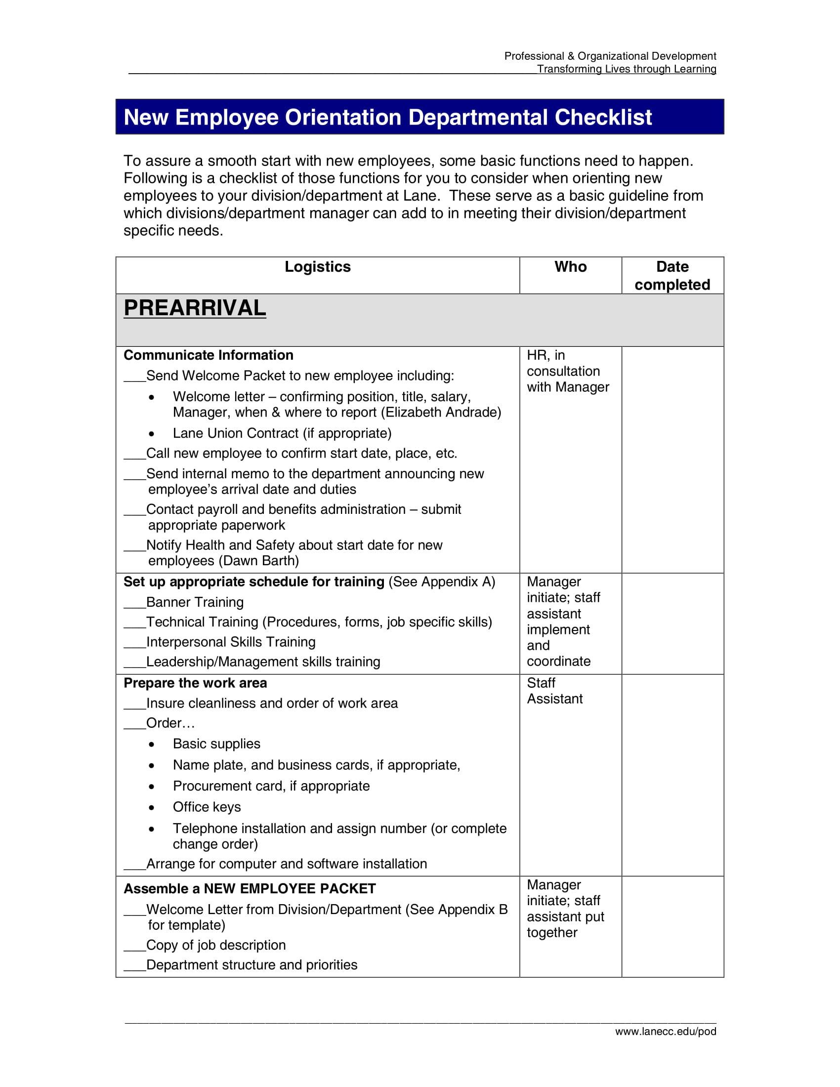 new employee orientation departmental checklist