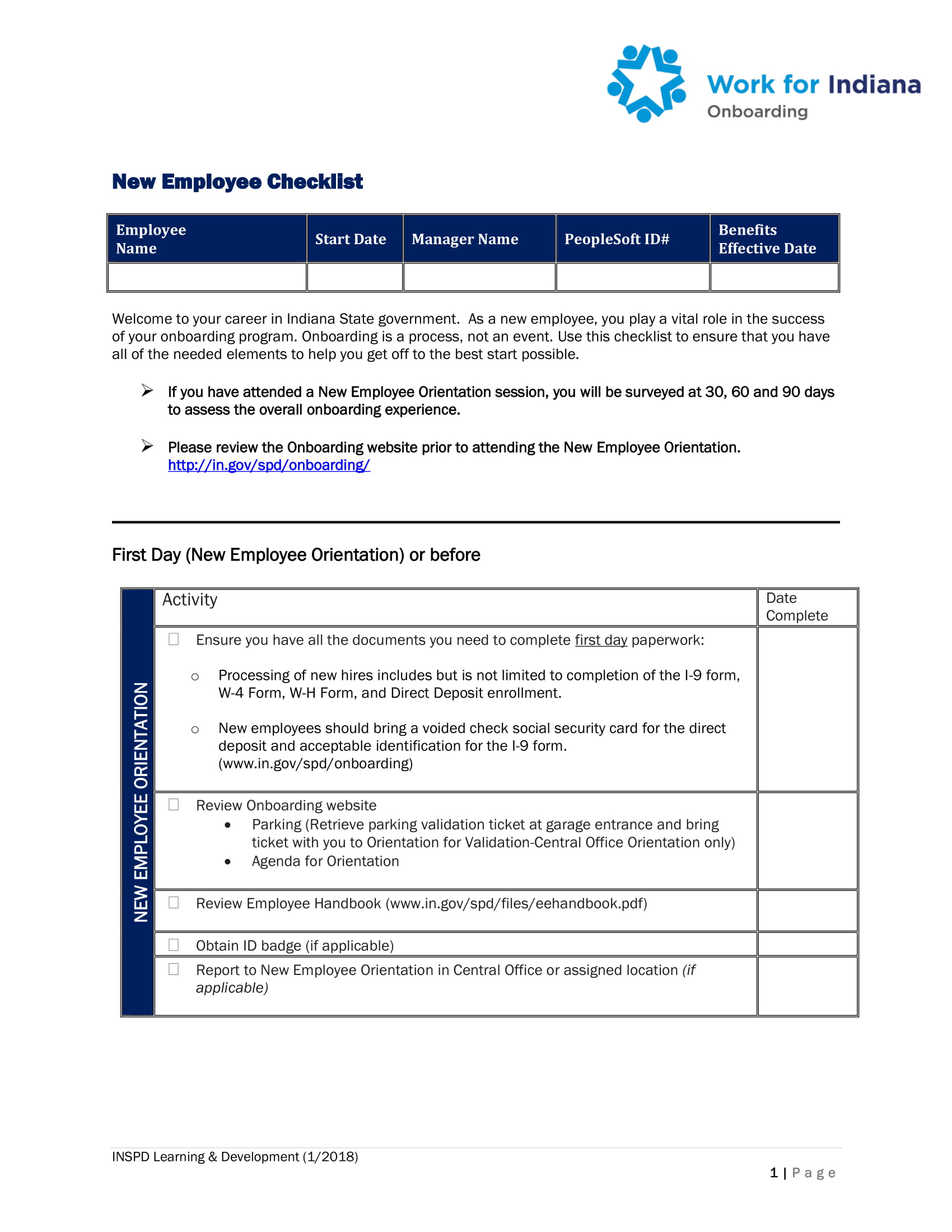 new employee orientation program activity checklist