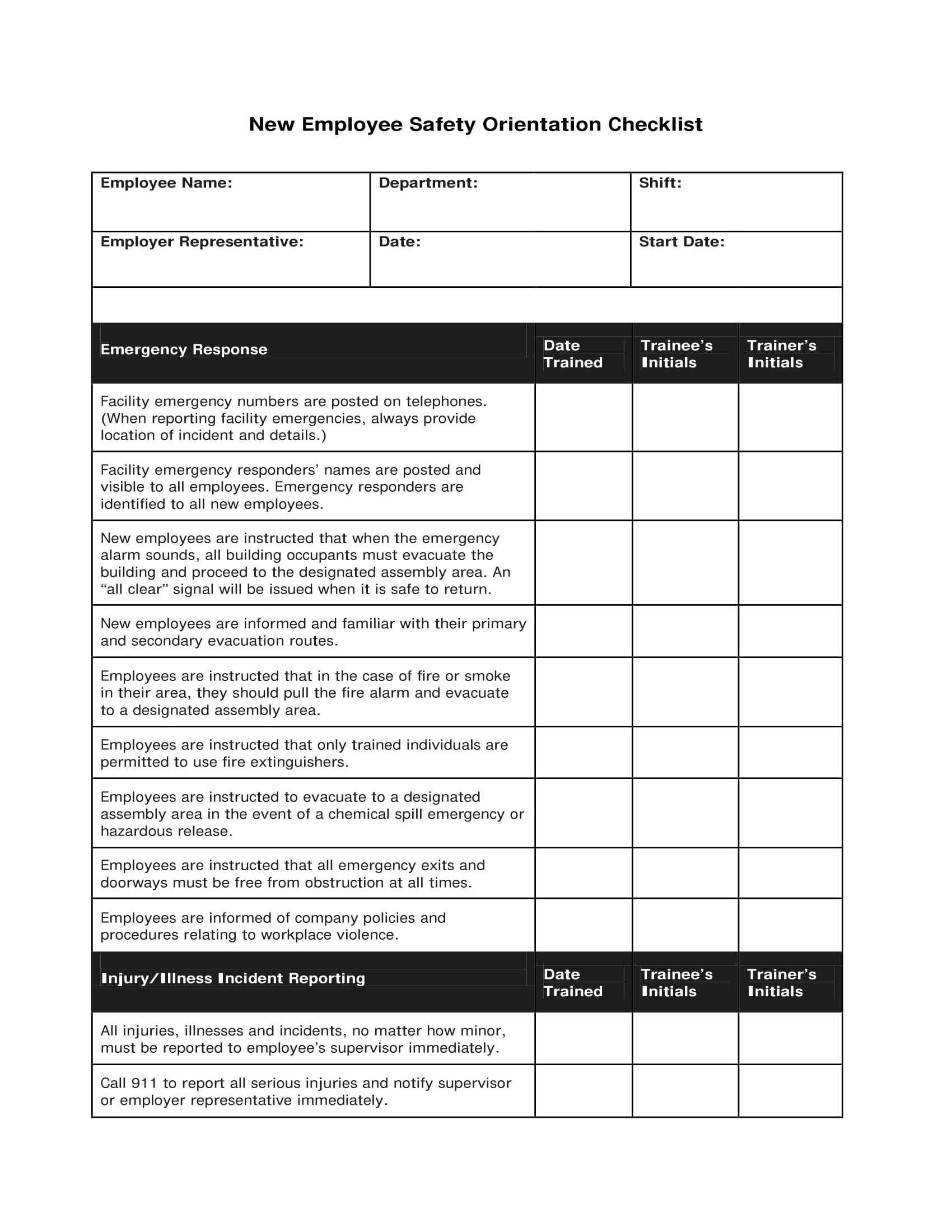 new employee safety orientation checklist