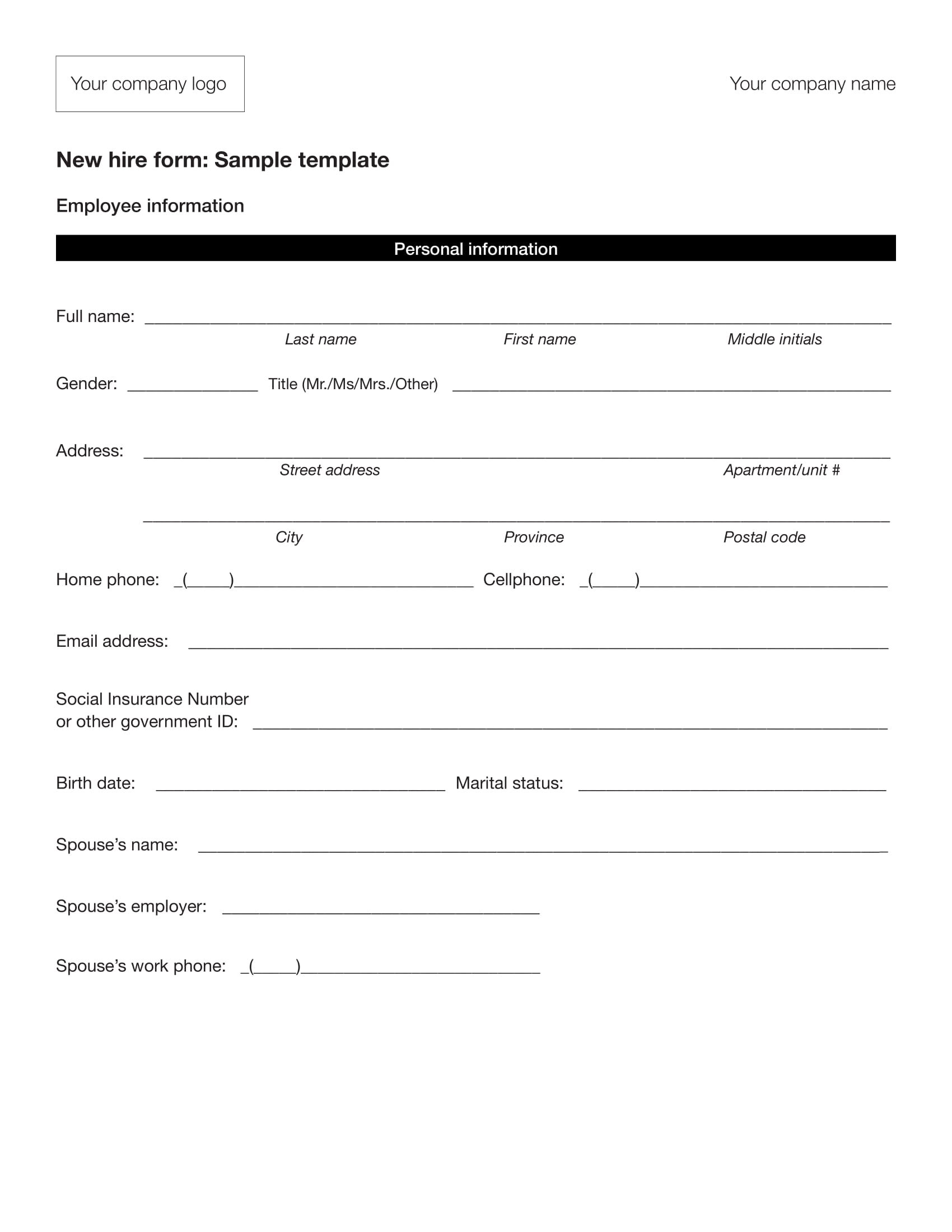 10 employee information form examples pdf
