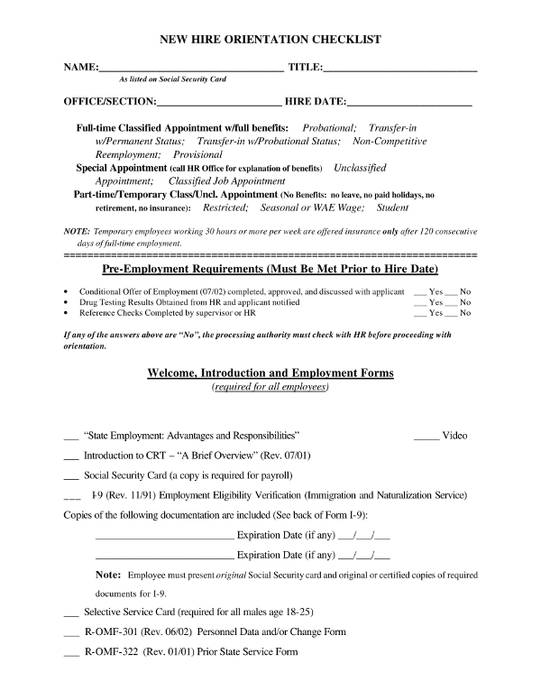 new hire orientation checklist for pre employment requirements
