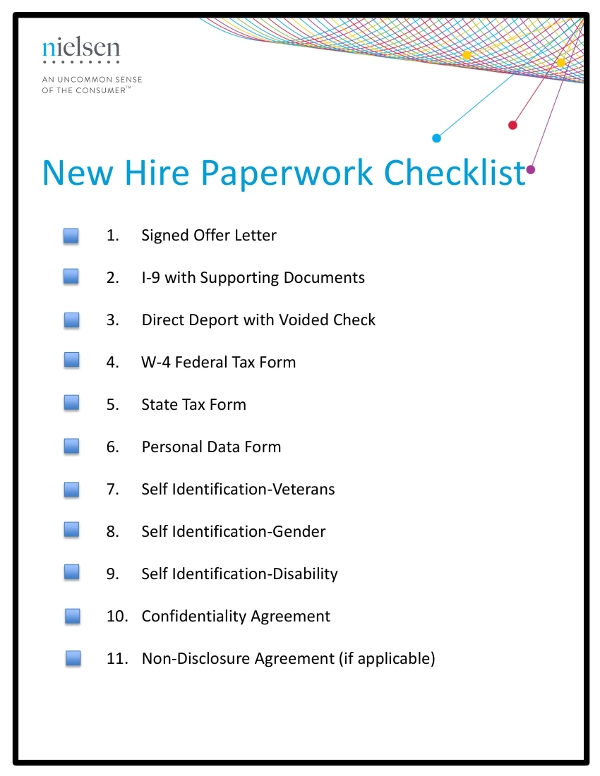 new hire pre employment paperwork checklist example