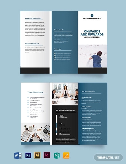 organisation annual report tri fold brochure template