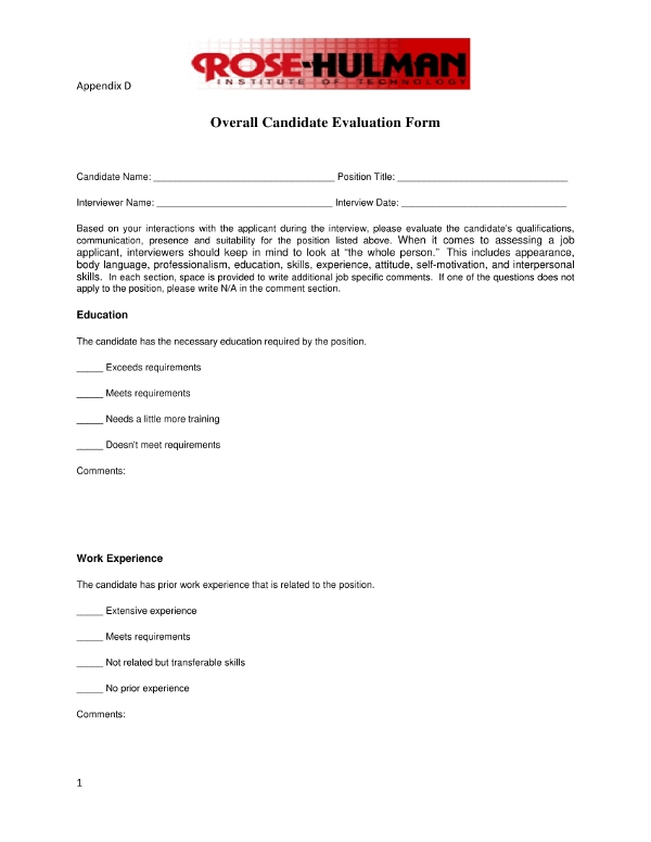 overall candidate evaluation form example