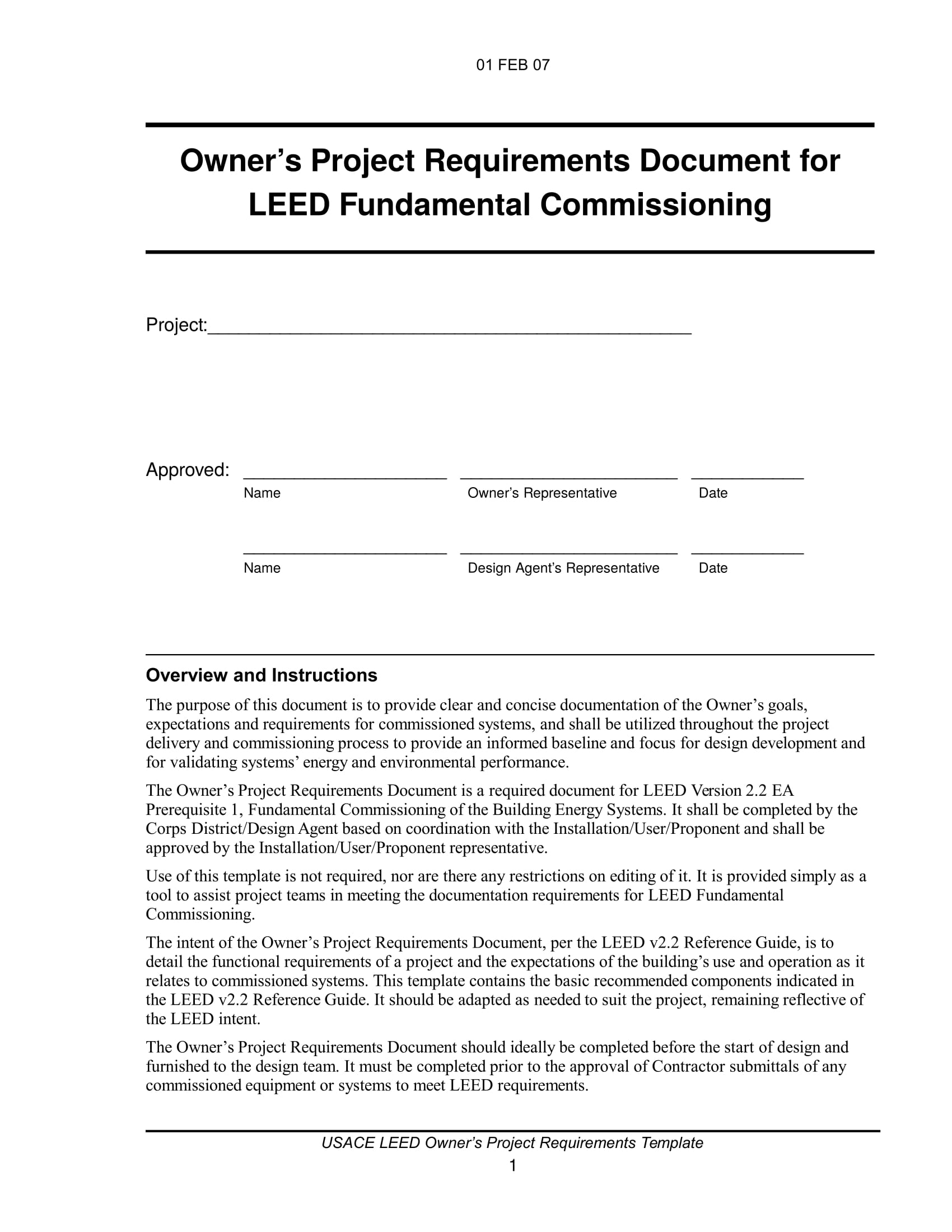 owners project requirements checklist template sample
