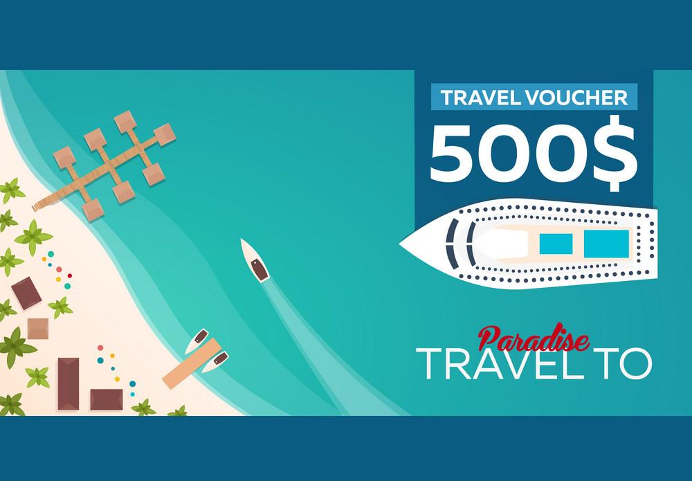 paradise travel gift voucher design
