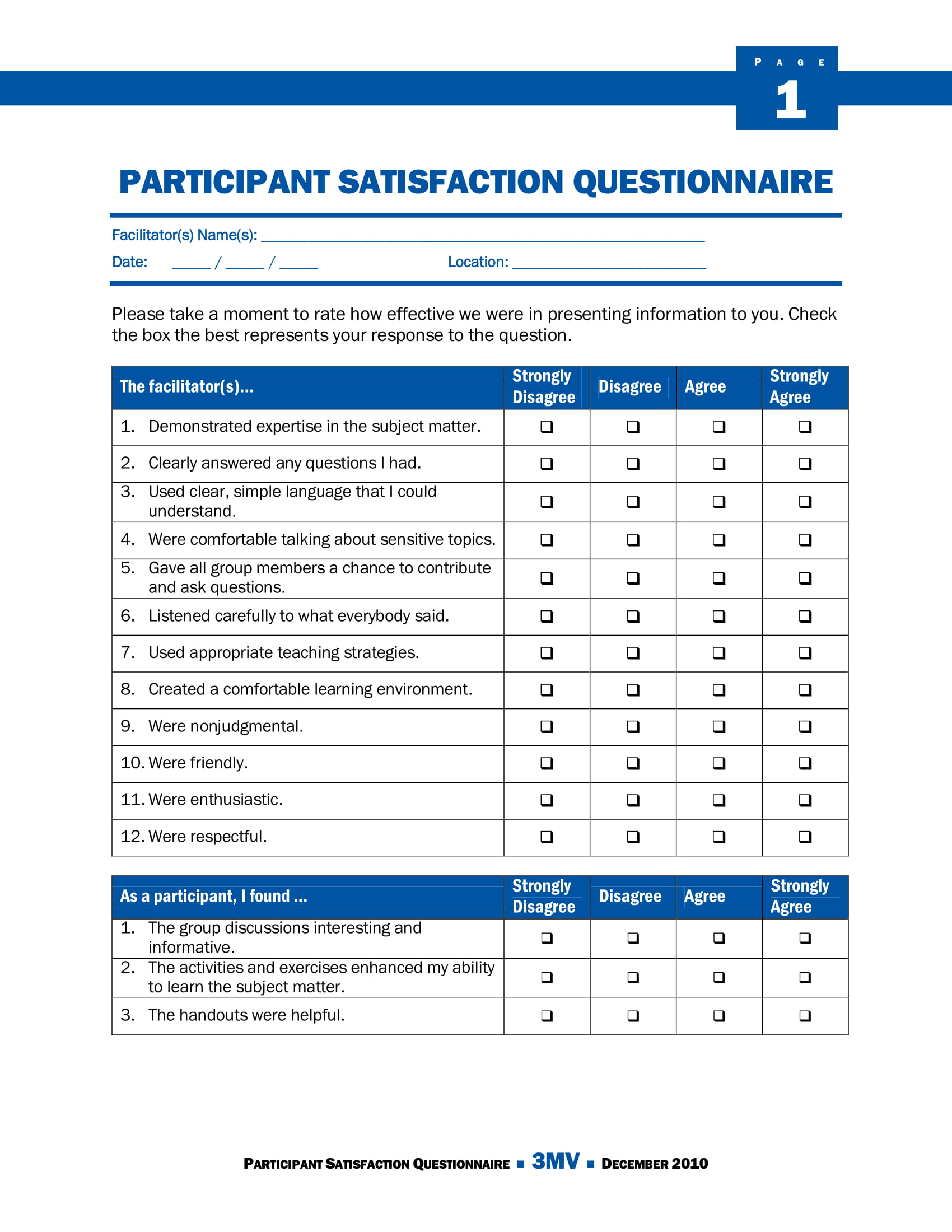 participant satisfaction survey example