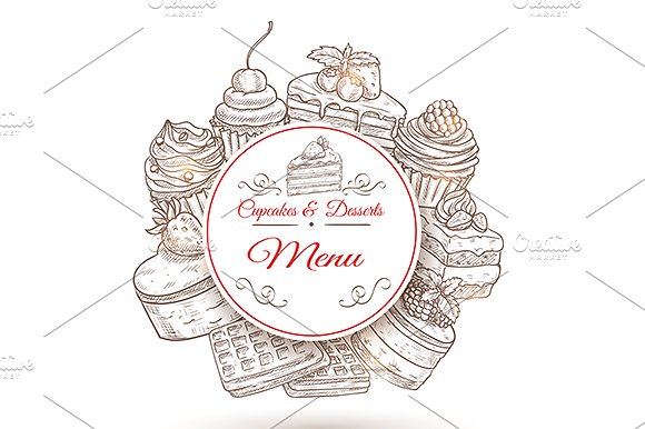 pastry desserts menu poster example