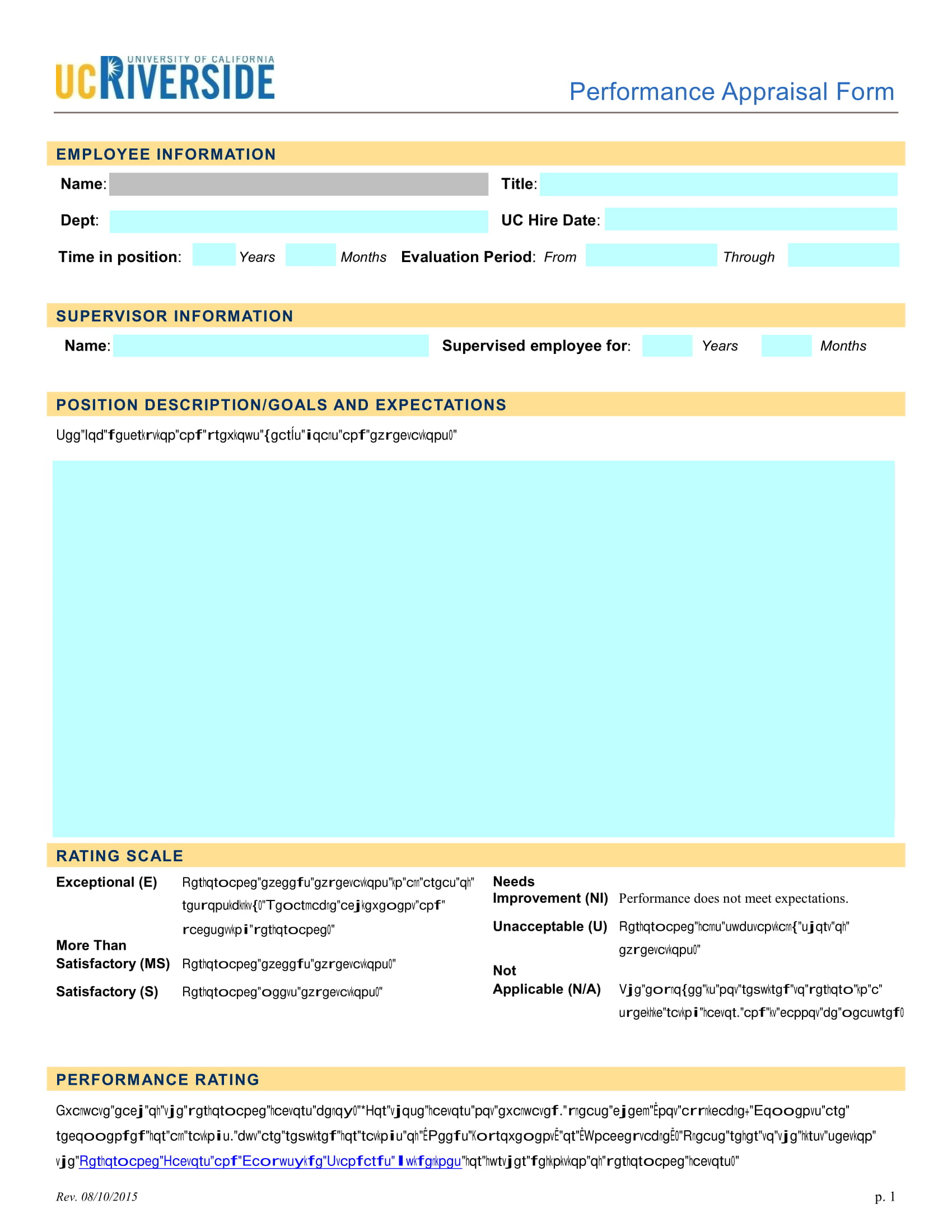 performance appraisal evaluation form