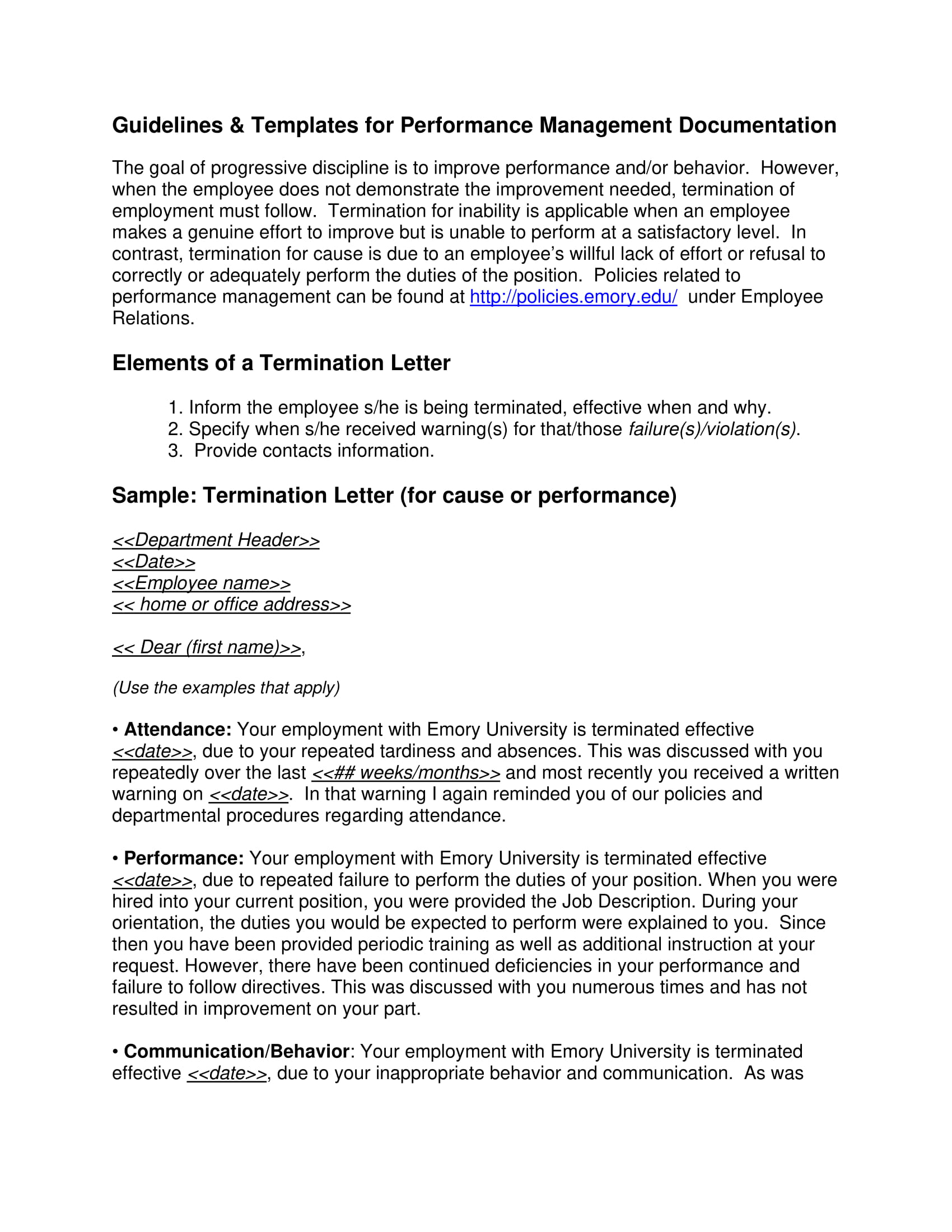 Employment Termination Letters | 9 Examples Of Employee Termination Letter Template Pdf Word