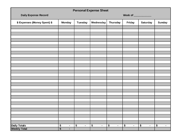 personal expense sheet example