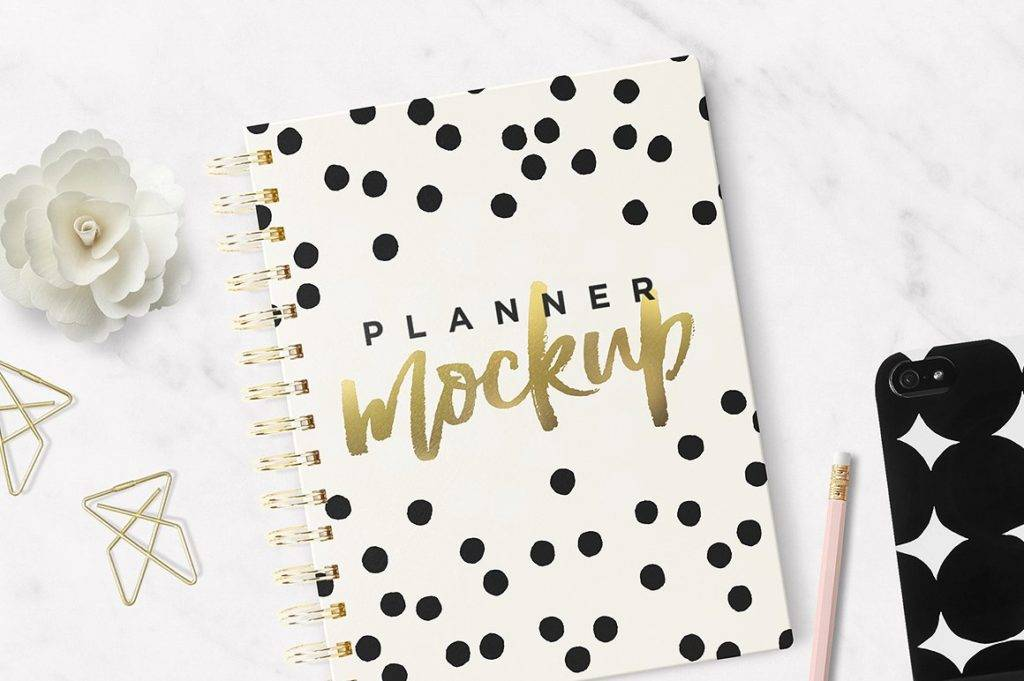 planner notebook mock up cover