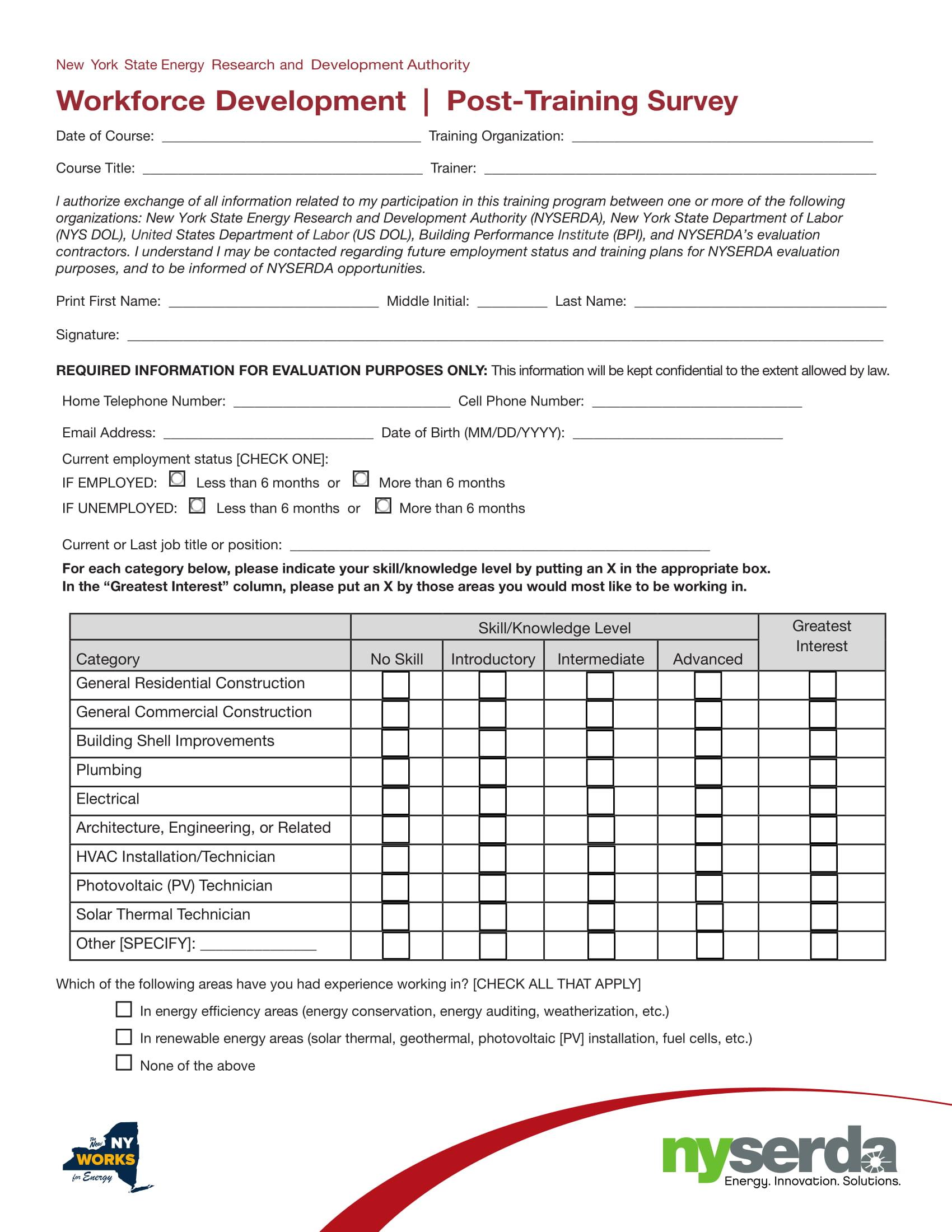 post training survey 1