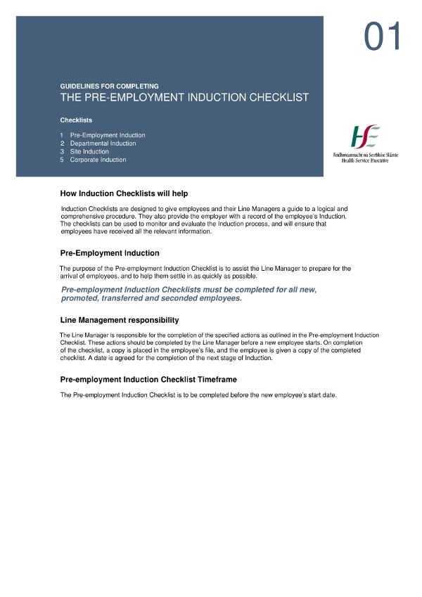 pre employment induction checklist example