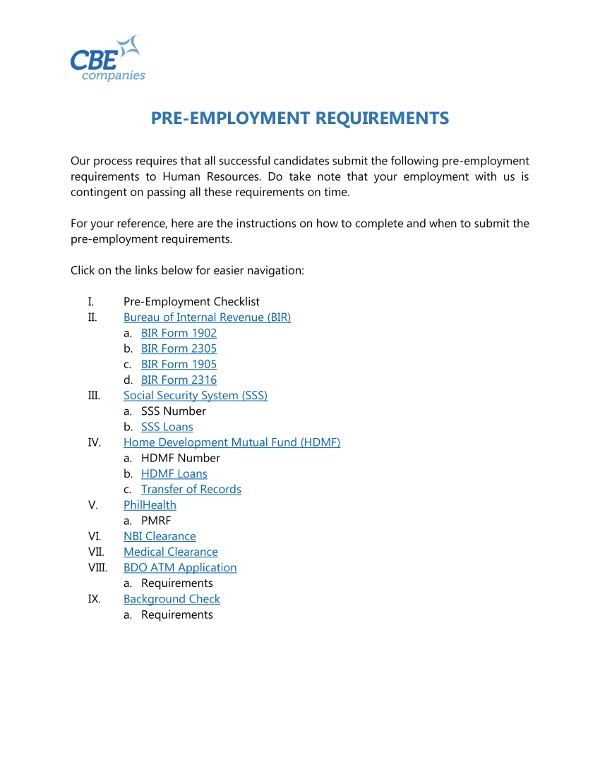 pre employment requirements checklist example
