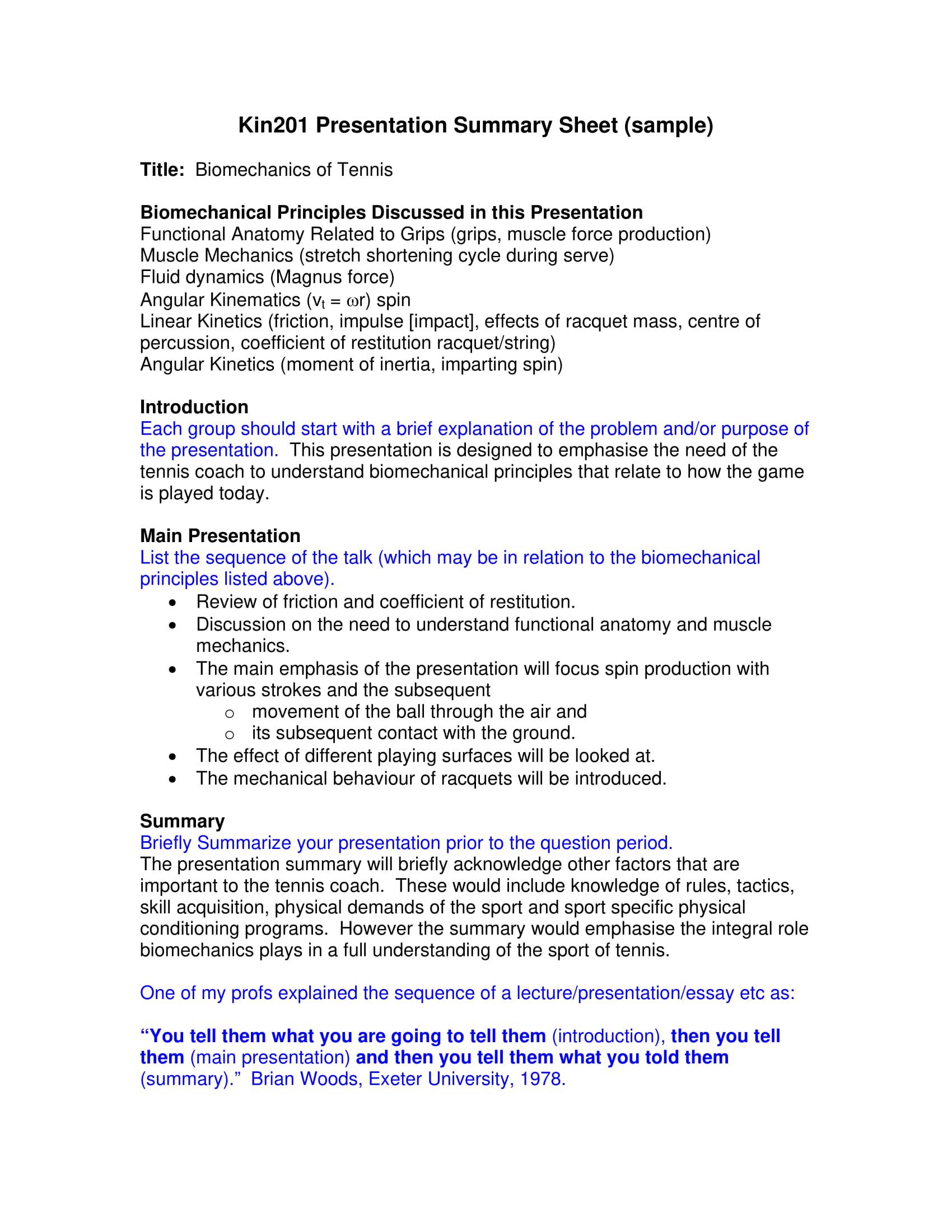presentation summary sheet