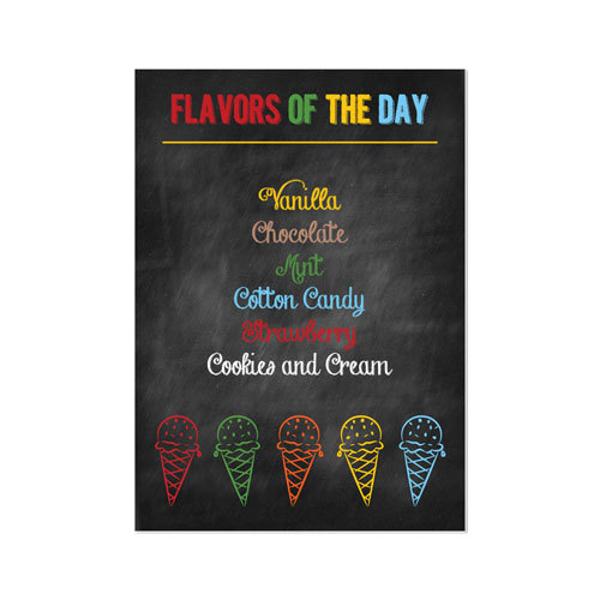 printable rainbow ice cream party menu
