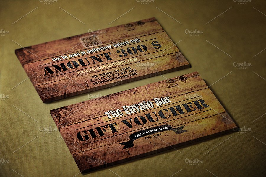 printable wooden style voucher example