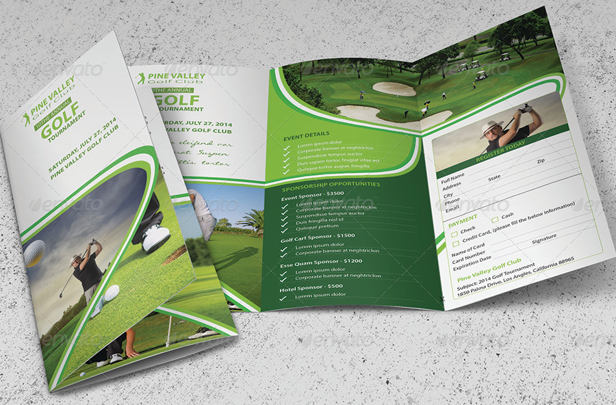 professional golf tournament trifold brochure