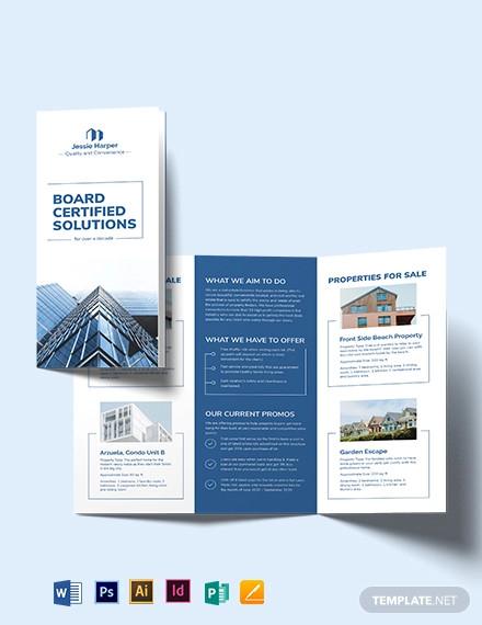 professional real estate broker tri fold brochure template