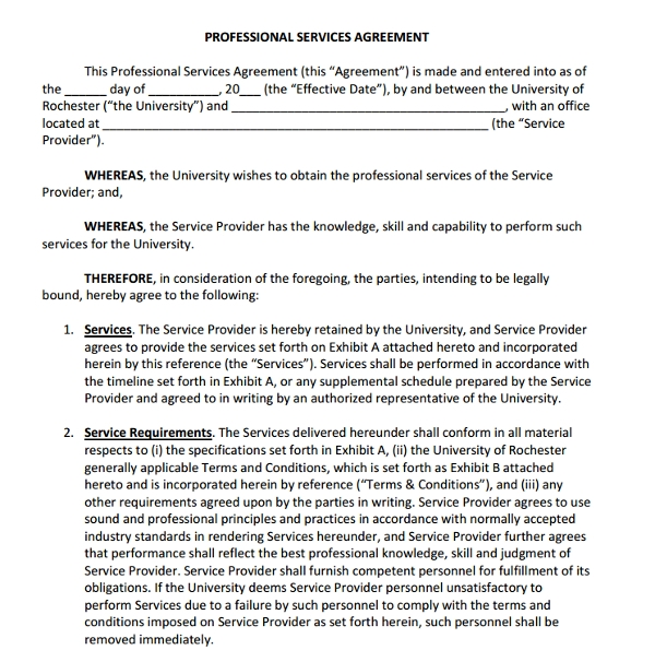 Service Agreement Examples  Pdf