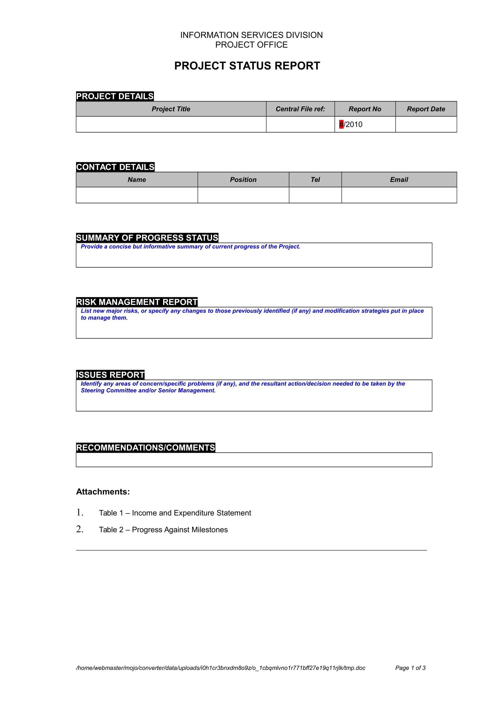 project status report template example