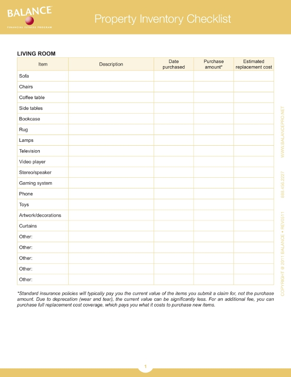 property inventory checklist example