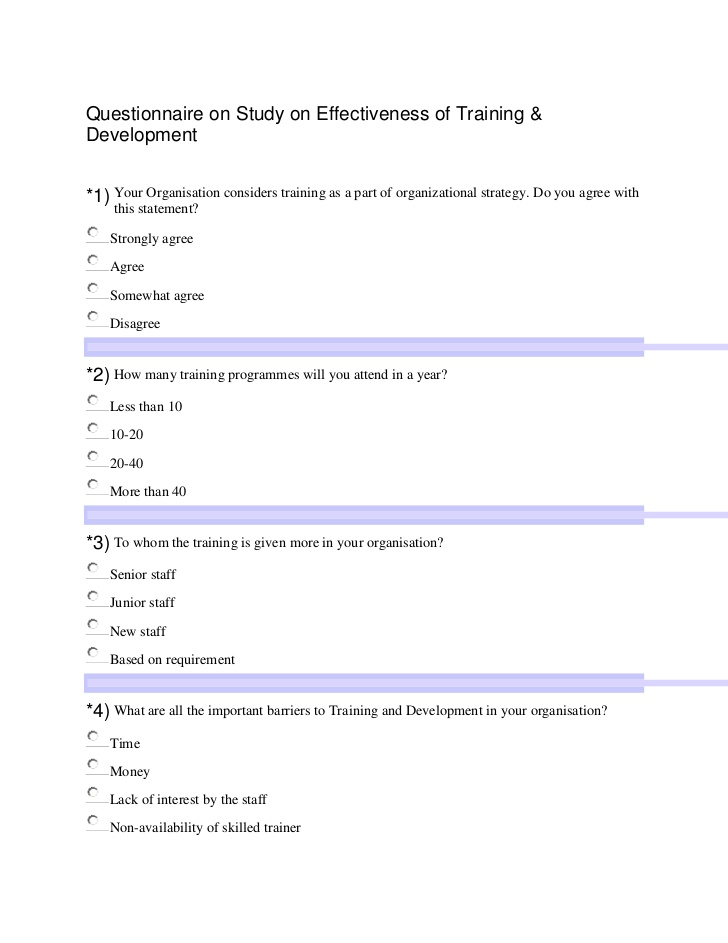 Training Survey Examples Pdf