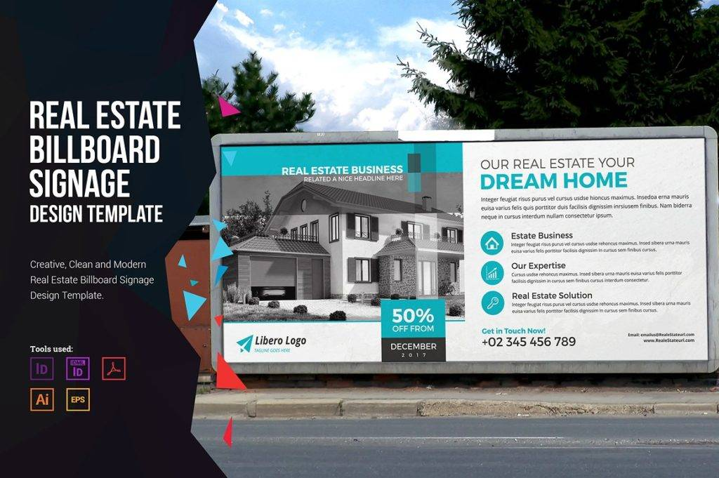 real estate billboard signage design template