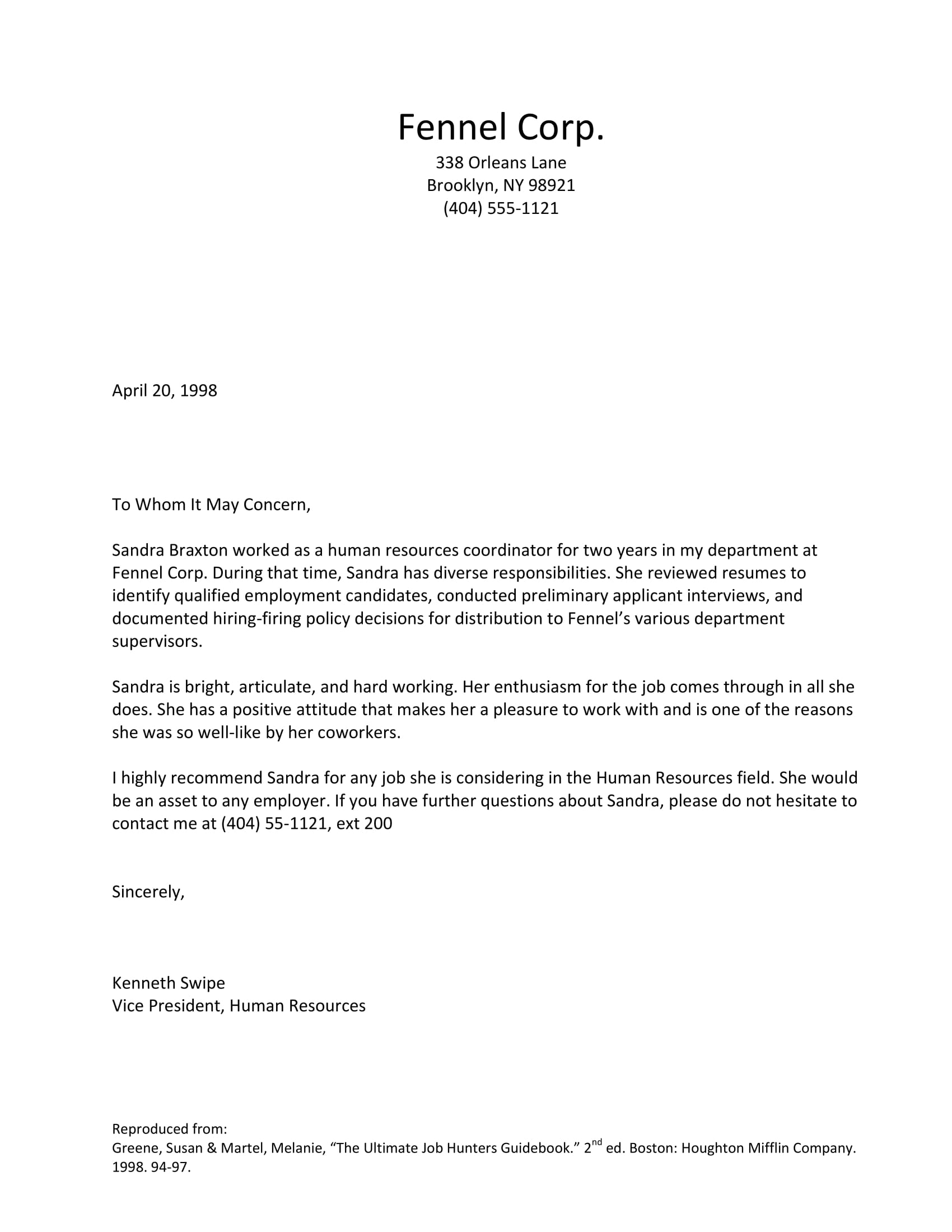 recommendation letter sample 2
