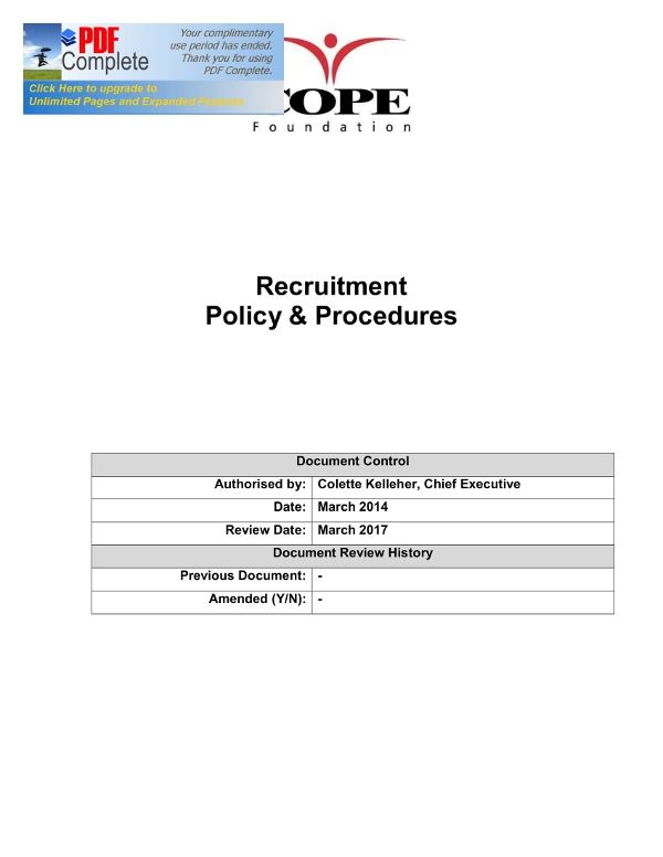 recruitment policy and procedures