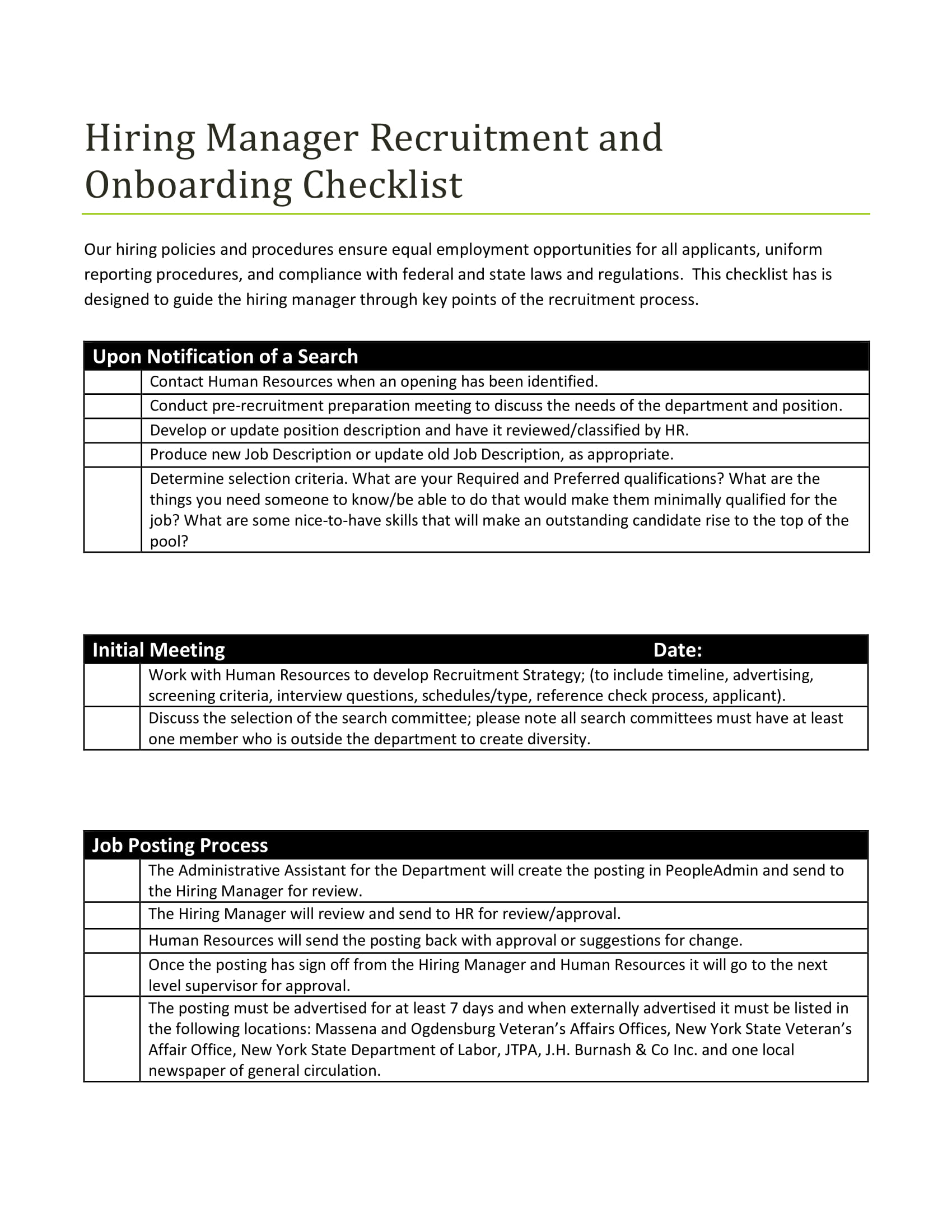recruitment and hiring checklist