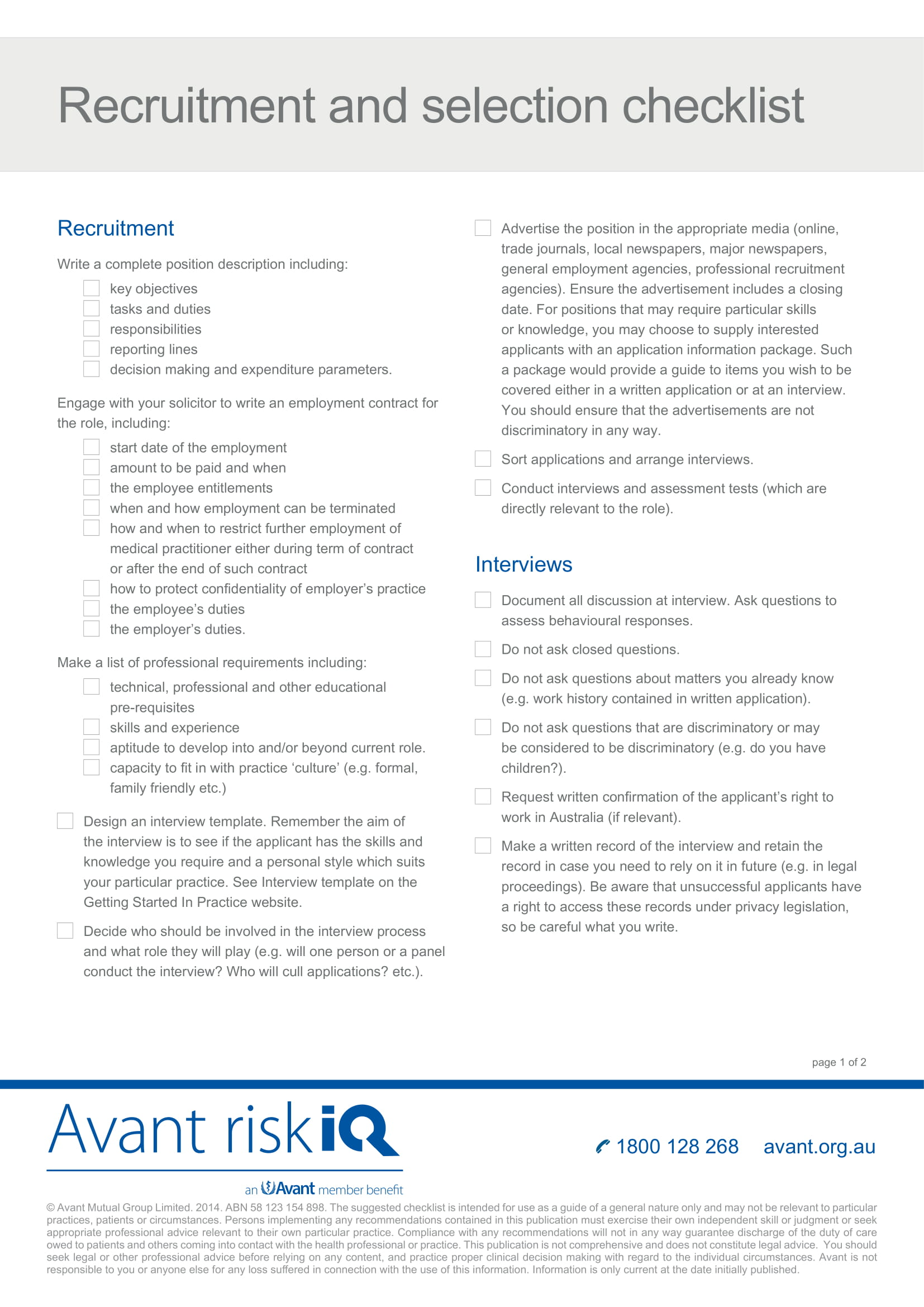 recruitment and selection checklist example
