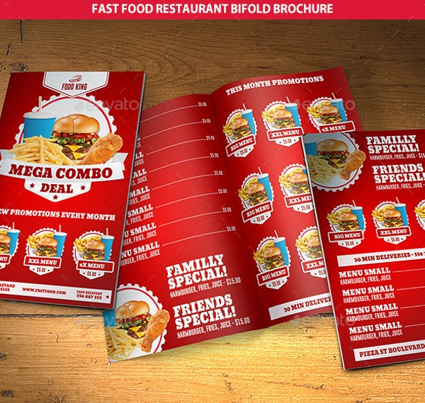 red and blue fast food restaurant bi fold brochure example