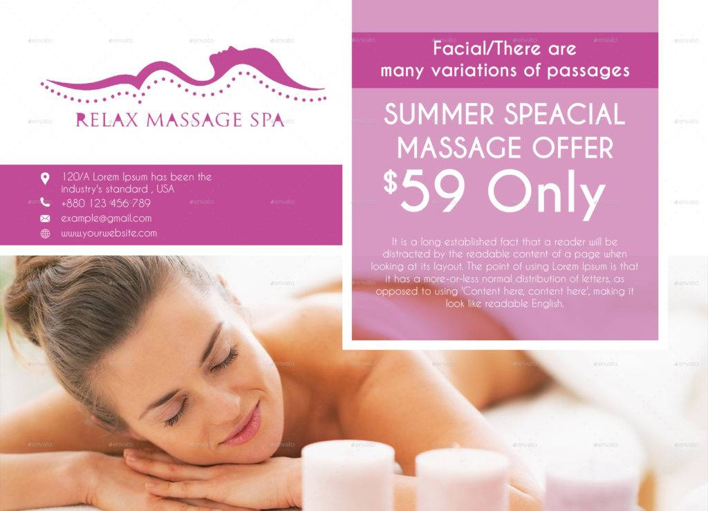 relax massage spa bi fold brochure example