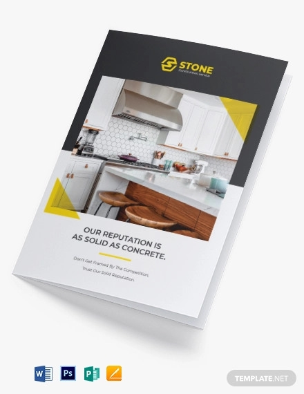 residential construction bi fold brochure template