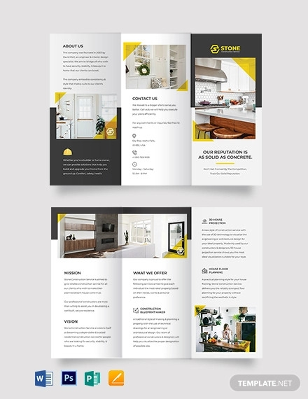 residential construction tri fold brochure template