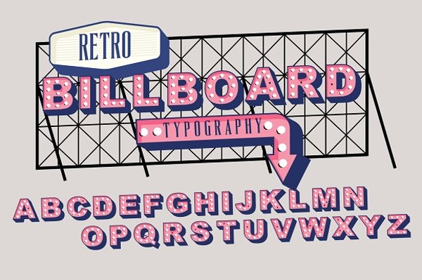 retro signage or billboard typography