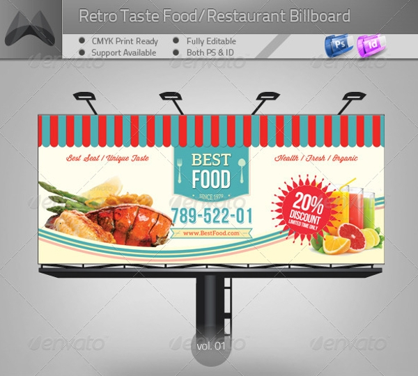 retro style restaurant billboard