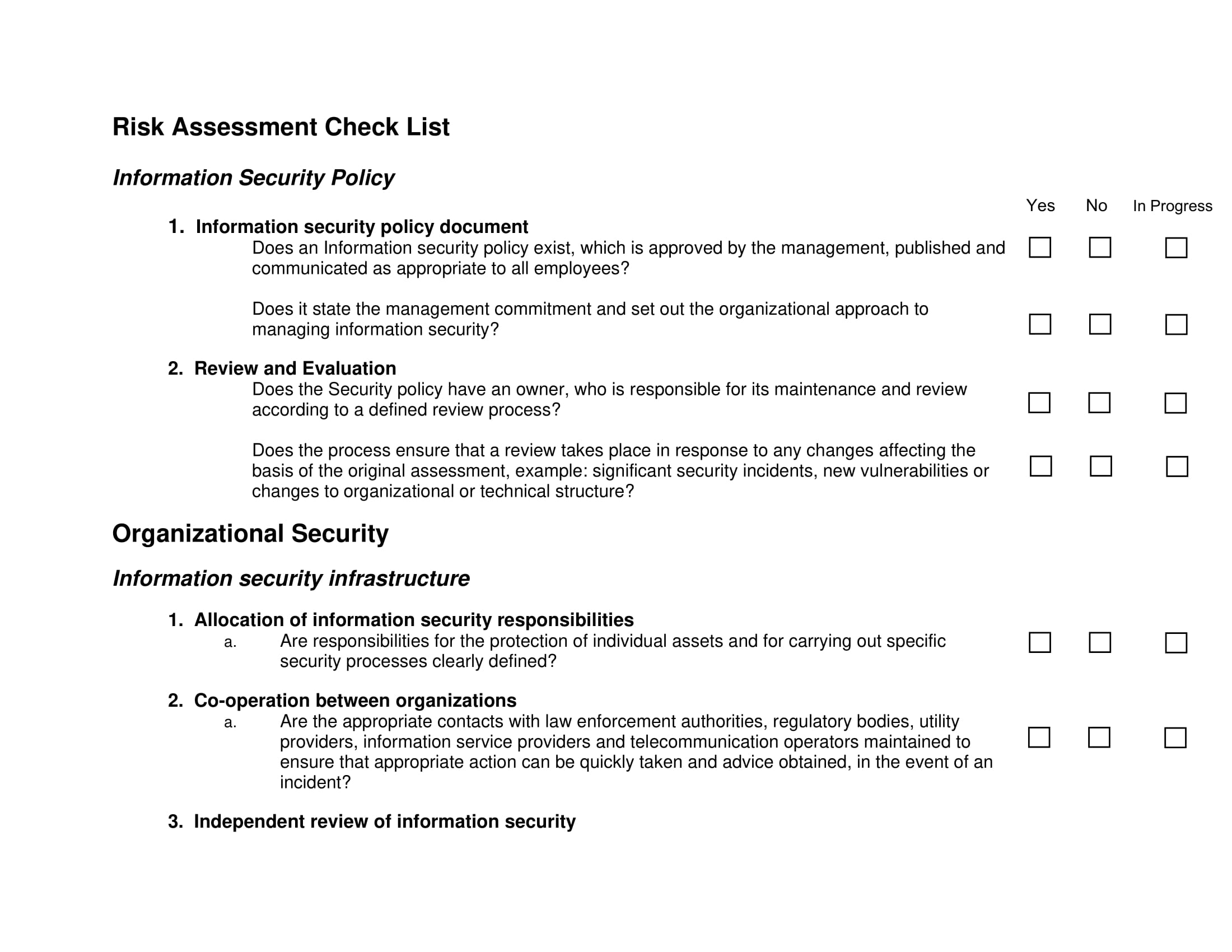 risk assessment and management checklist