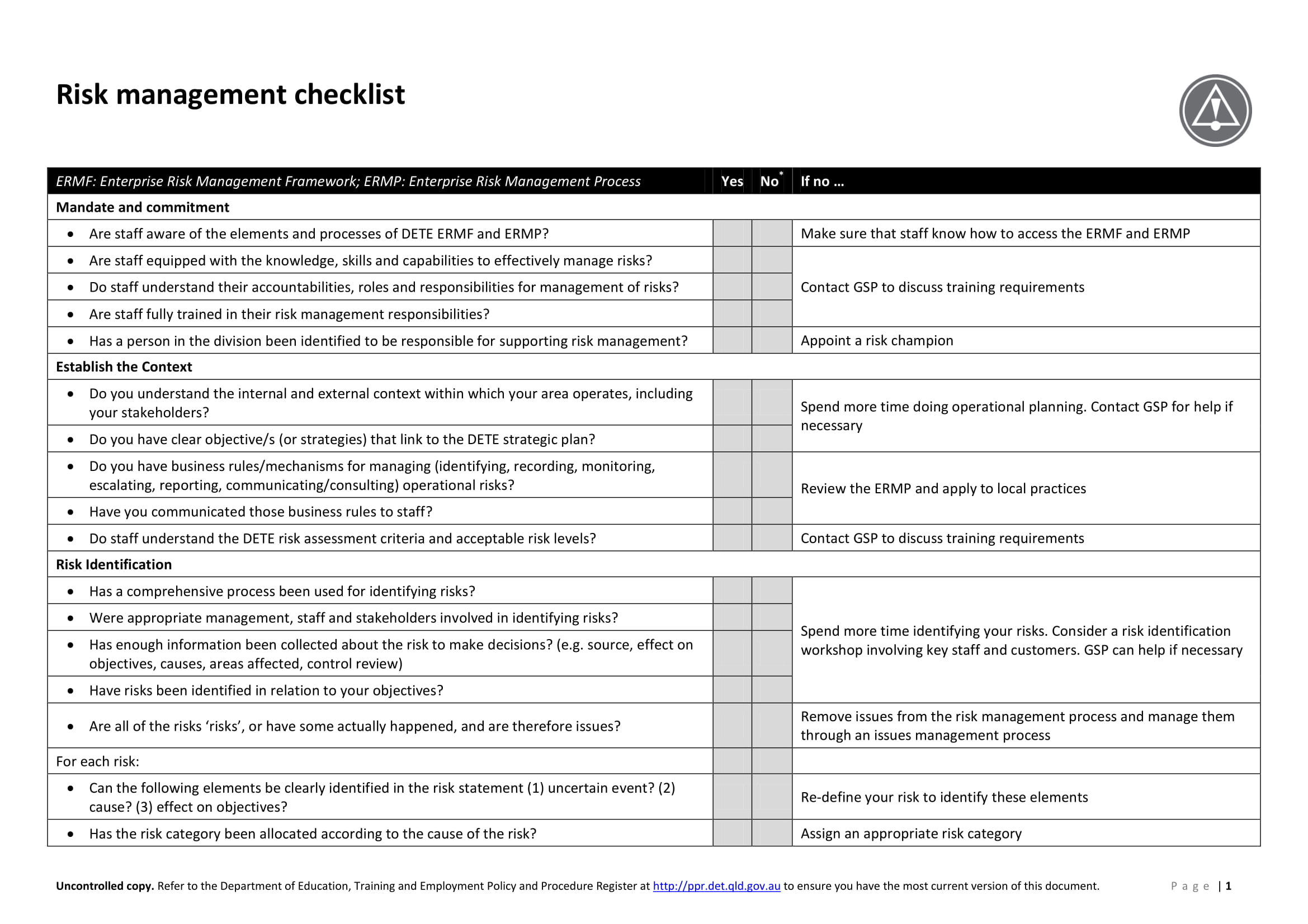 risk management checklist sample