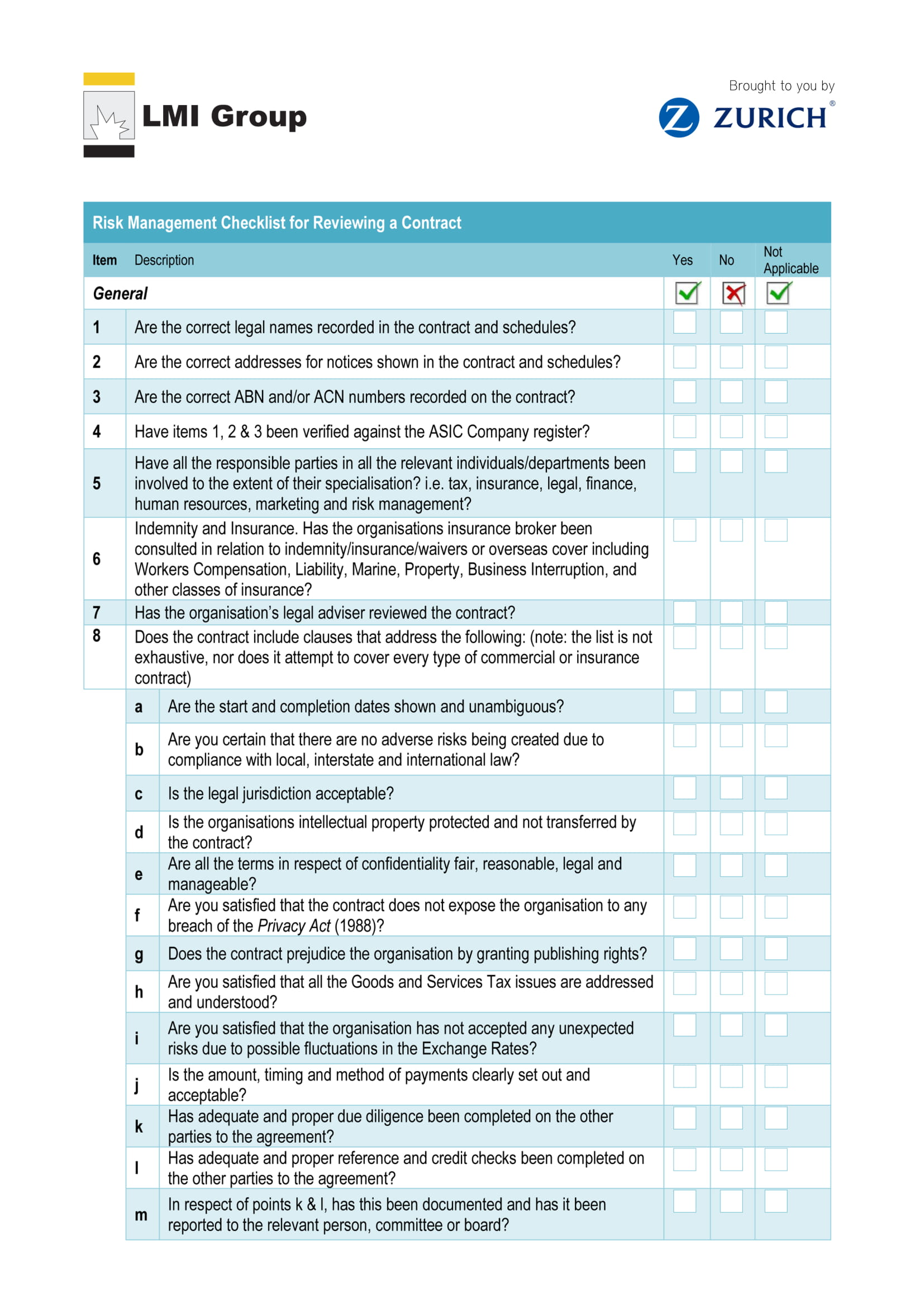 risk management checklist for reviewing a contract