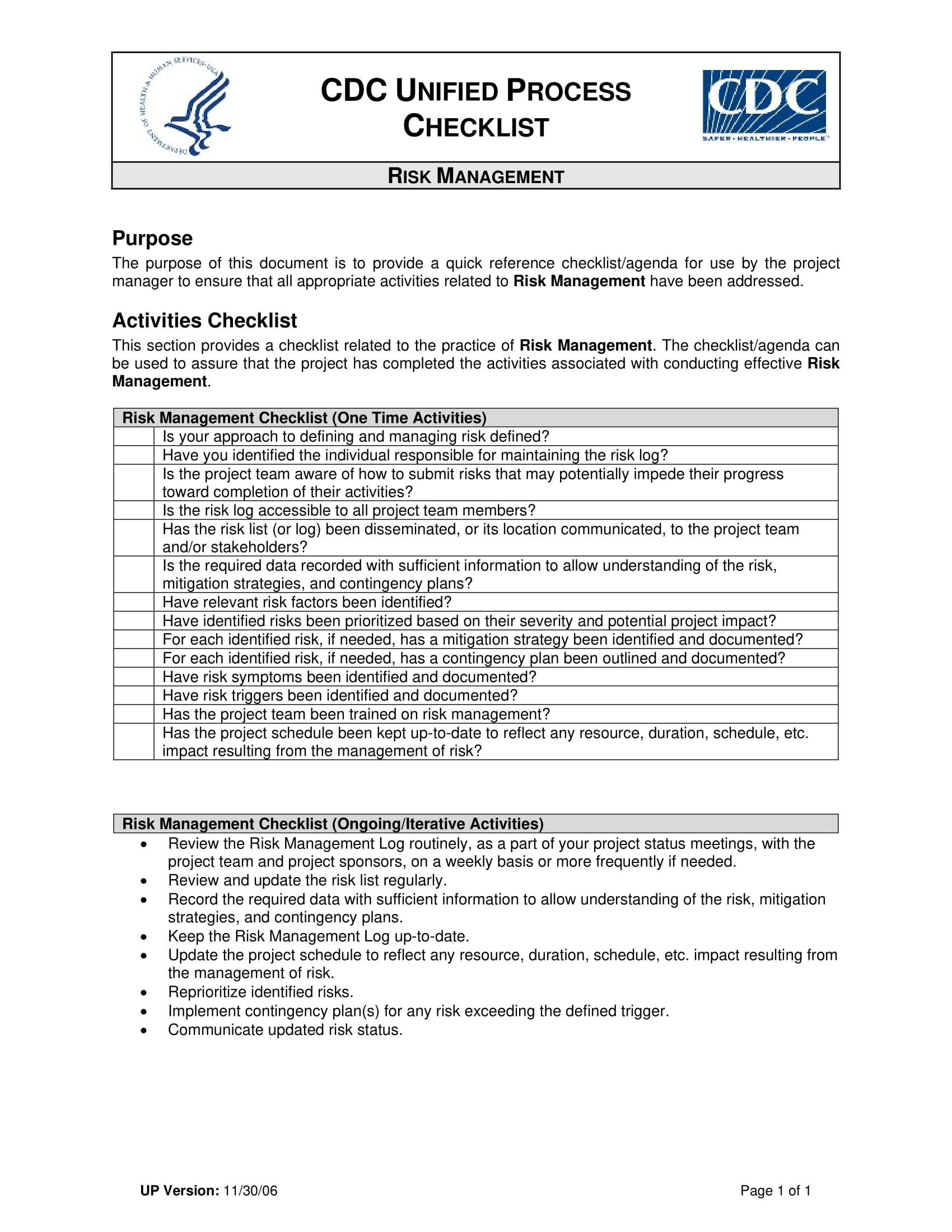 risk management checklist