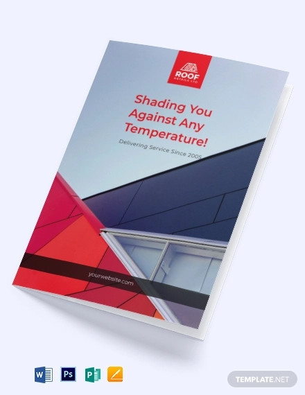roofing construction bi fold brochure template