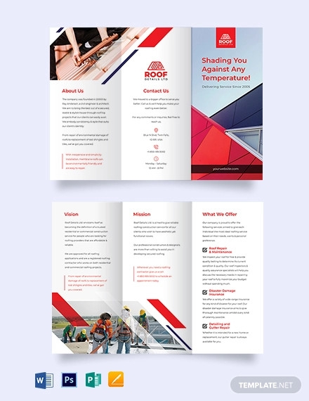 roofing construction tri fold brochure template