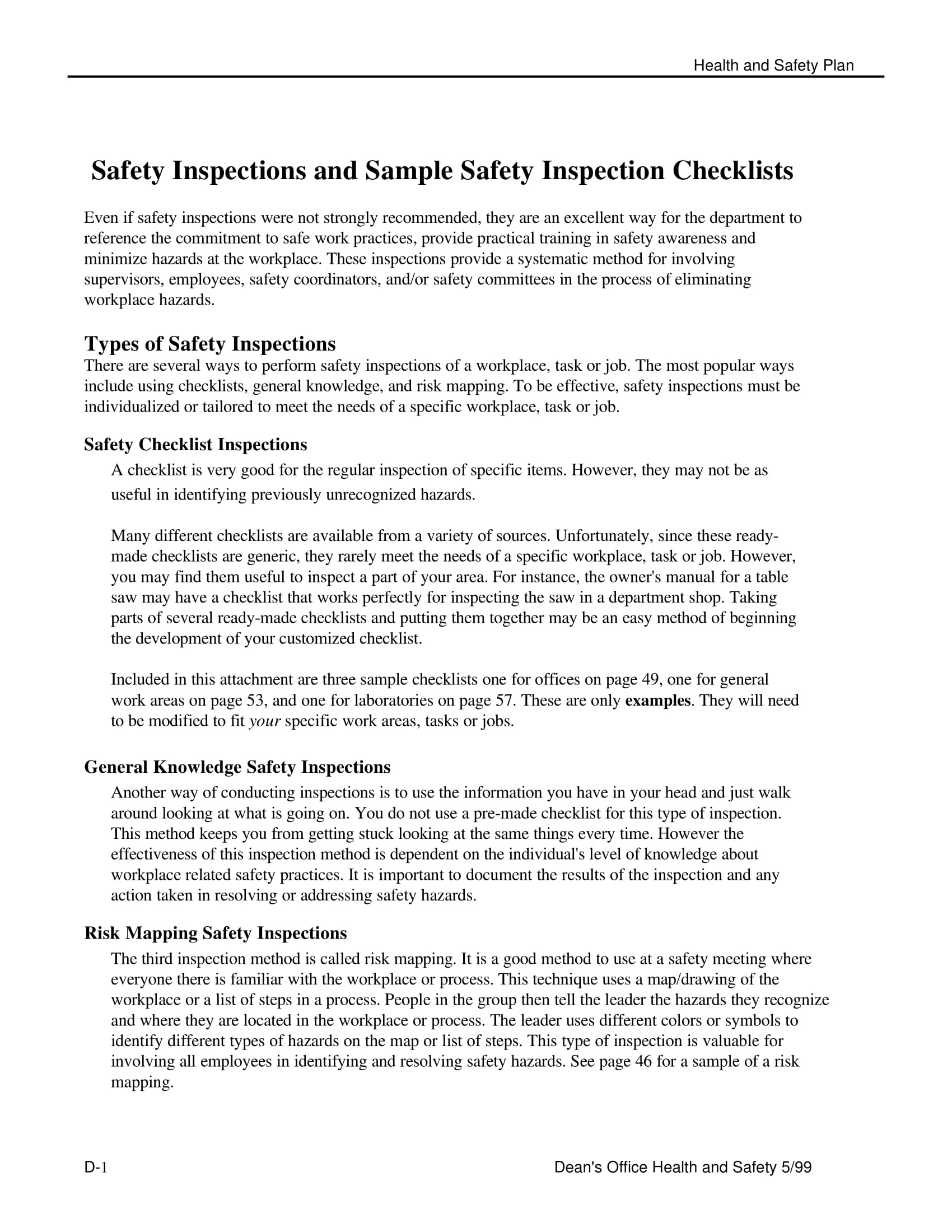 safety inspections and sample safety inspection checklist example