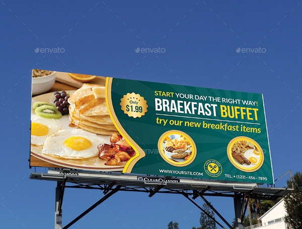 sample breakfast buffet billboard
