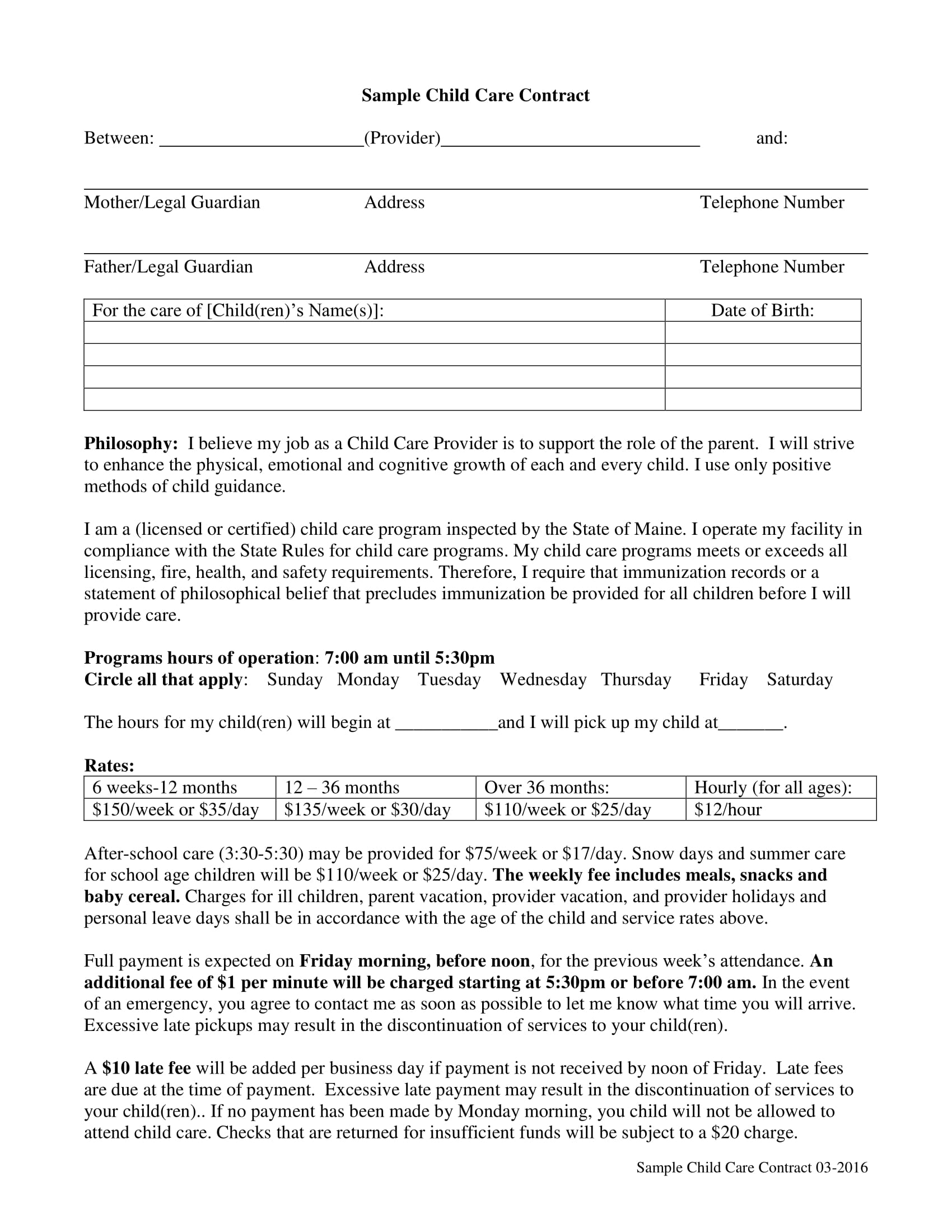 7 child care contract examples pdf sample child care contract example maxwellsz
